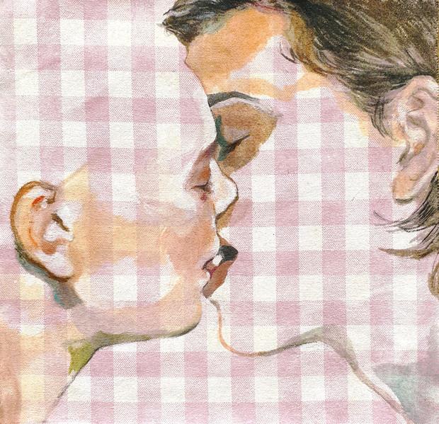 kiss oil on cloth