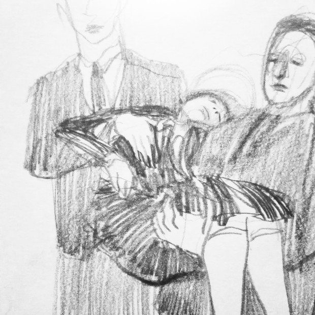Dying Lover pencil on paper