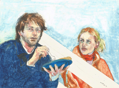 Joel and Clementine of Eternal Sunshine of the Spotless Mind oil pastel on paper