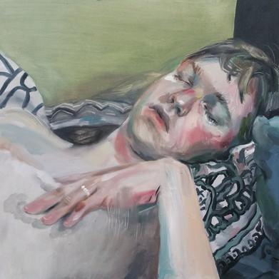 Sleeping Lover oil on canvas panel, 40cm x 40cm