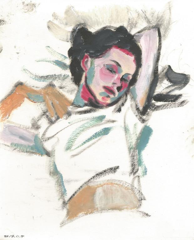 Alice (Natalie Portman) of Closer oil on paper