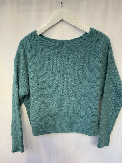 MILA  BOATNECK KNITTED SWEATER SOFT TURQUOISE