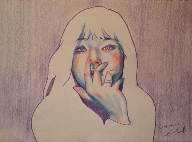 Self-Portrait color pencil on paper