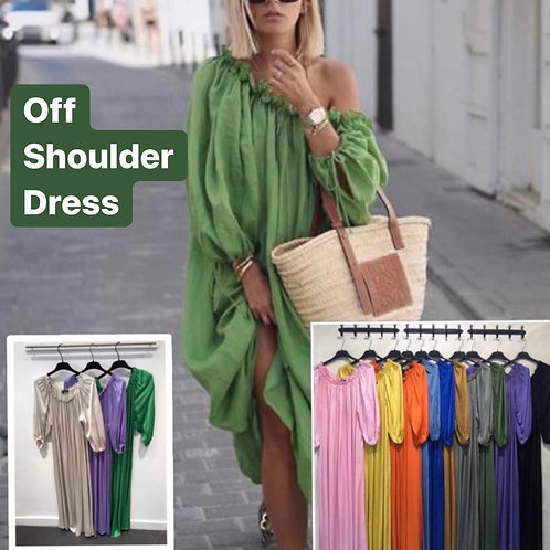 NATACHA OFF SHOULDER SILK DRESS