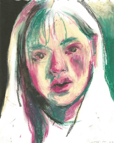 Drunk Self-Portrait oil pastel on paper