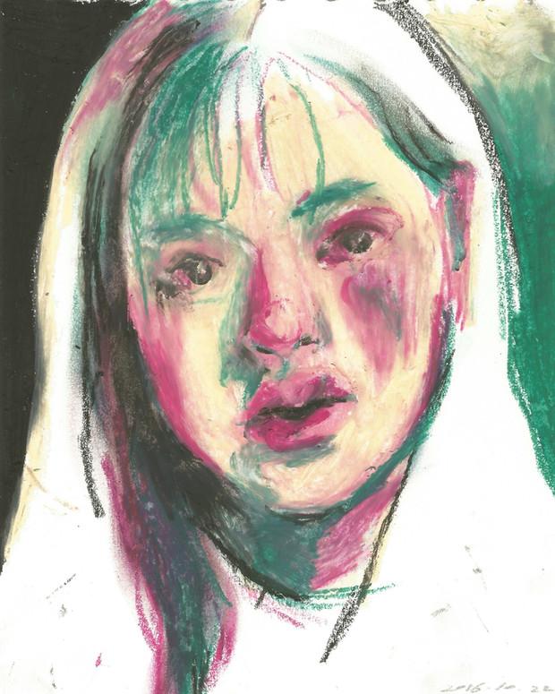 Drunk Self-Portrait oil pastel on paper