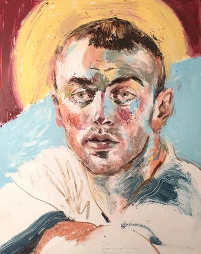 Sam Smith mixed media on canvas panel, 30cm x 24cm