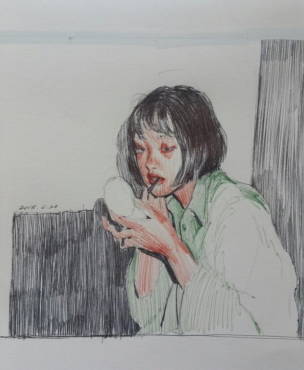 🔴 Self-Portrait in Paris pen on paper