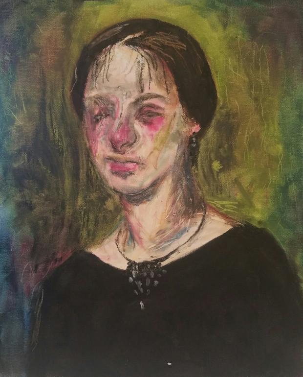 🔴 Untitled oil pastel on canvas panel, 30cm x 24cm