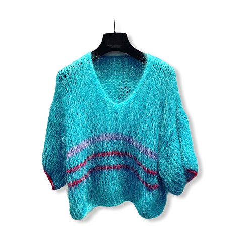 HANDMADE KNITTED SWEATER TURQUOISE