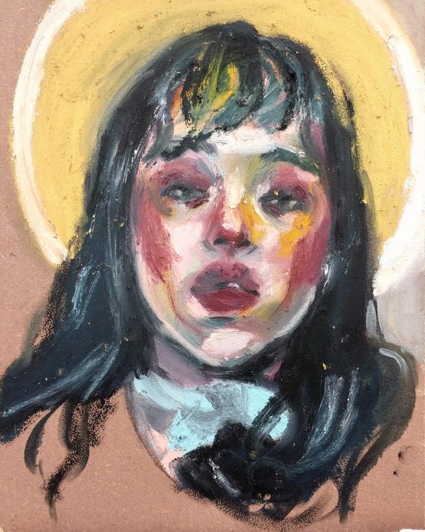 Self-Portrait oil stick on canvas panel