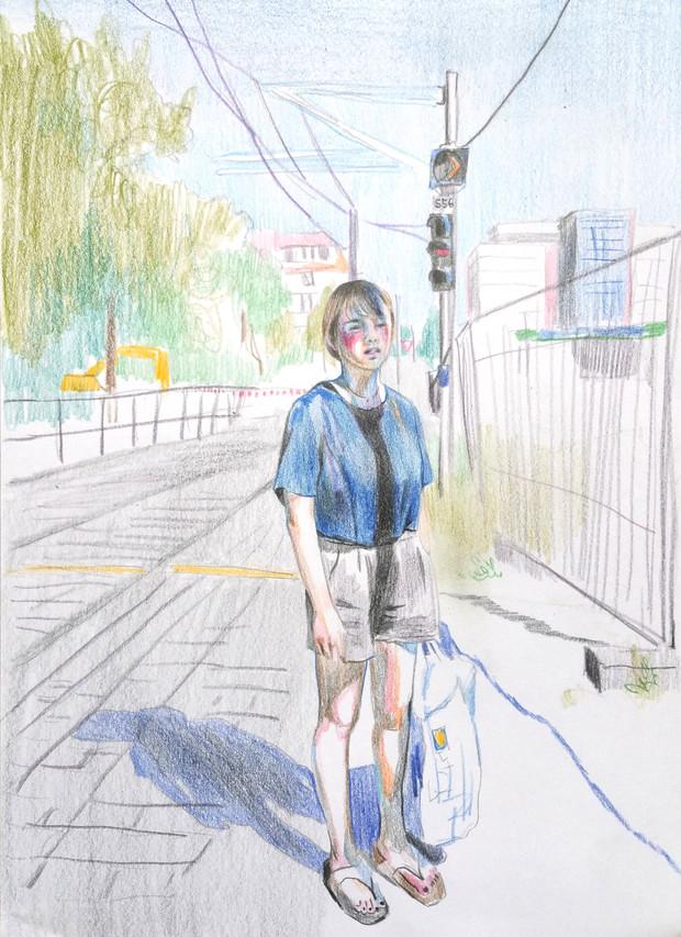 Self-Portrait of Summer color pencil on paper
