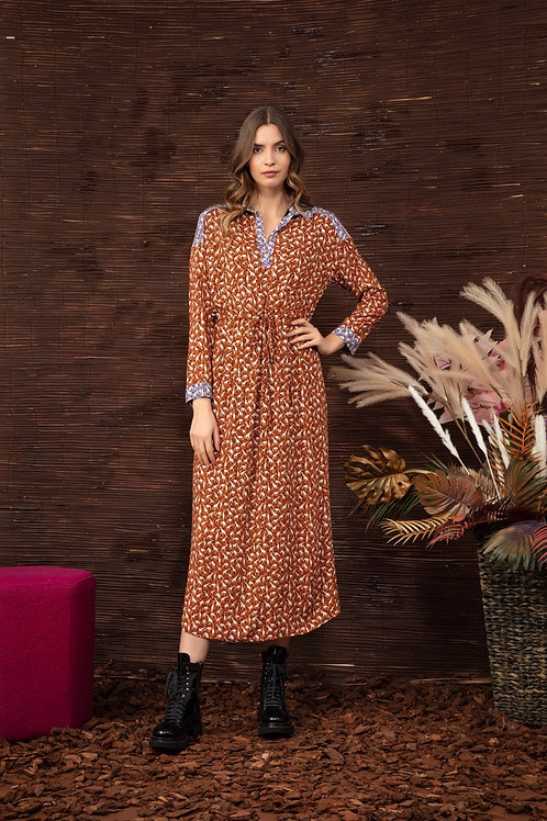 GIRAFFE LONG DRESS COGNAC