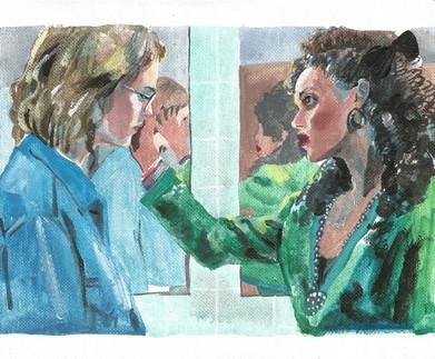 Yorkie and Kelly of San Junipero, Black Mirror series acrylic on canvas