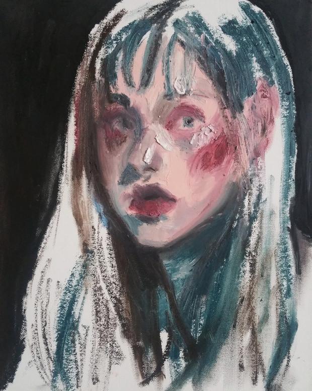 Self-Potrait oil stick on canvas panel