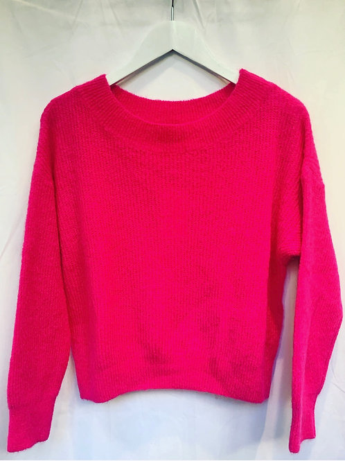 MILA BOATNECK SWEATER HOT PINK