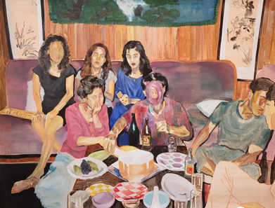 People who can't Enjoy Parties oil on canvas, 80cm x 103cm