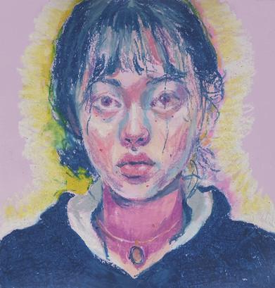 🔴 Self-Portrait oil pastel on colored paper