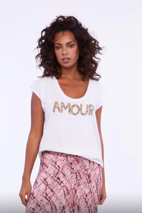 AMOUR T-SHIRT OFF/WHITE STONE WASH