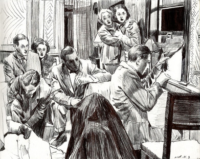 """pen on paper ref: a scene from """"The Lady Vanishes"""""""