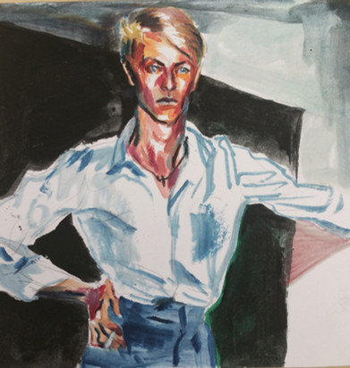 David Bowie oil on paper