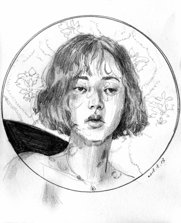 Self-Portrait of a Morning I Got up Early pencil on paper