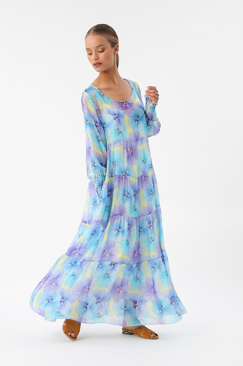 FLOWER SILK MAXI DRESS BLUE