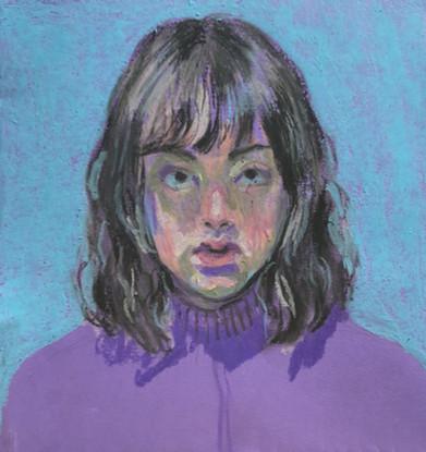 Self-Portrait oil pastel on colored paper