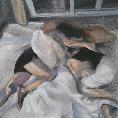 Sleeping Lovers oil on canvas, 30cm x 30cm