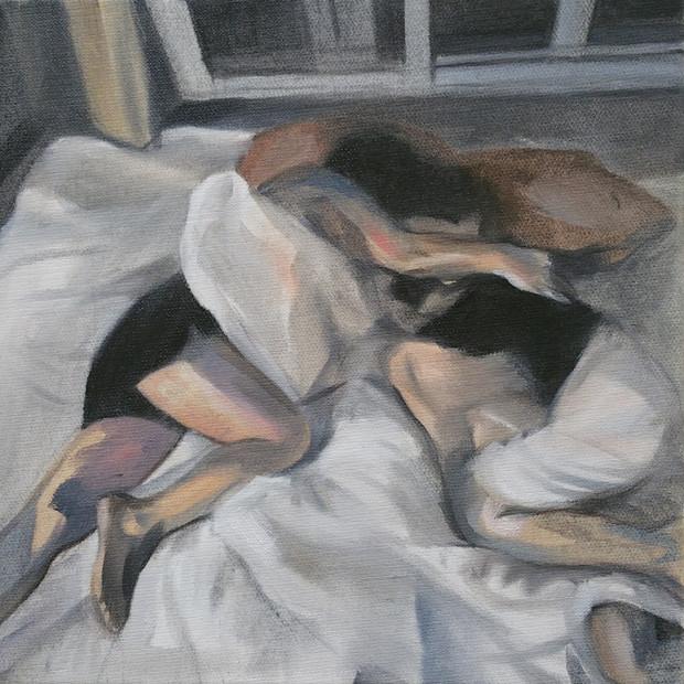 Sleeping Lovers oil on canvas, 30cm x 30cm