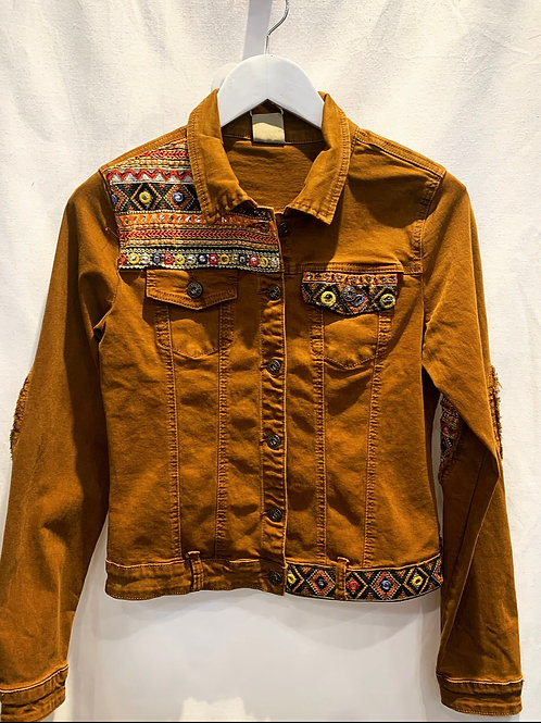 EMBROIDERED JEANS JACKET COGNAC