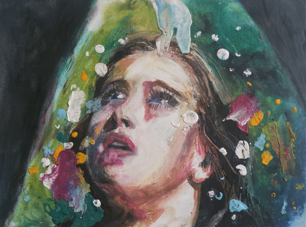 oil pastel on canvas panel