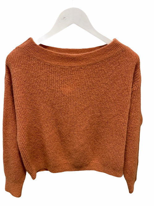 MILA BOATNECK KNITTED SWEATER ROSEWOOD