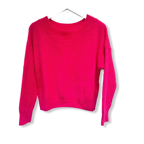 MILA BOATNECK KNITTED SWEATER HOT PINK