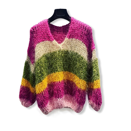 HANDMADE STRIPED KNITTED SWEATER