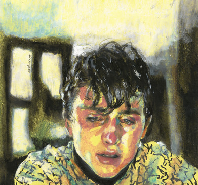 Elio of Call Me by Your Name mixed media on colored paper
