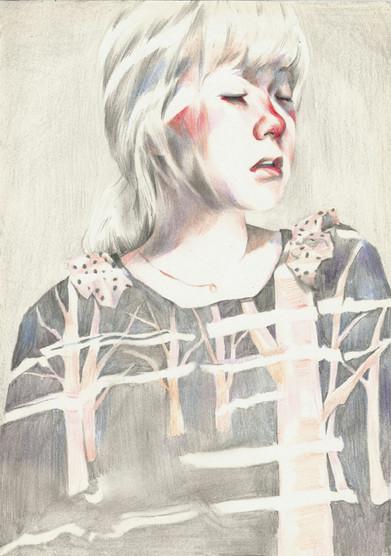 Self-Portrait mixed media on paper
