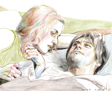 🔴 Clementine and Joel of Eternal Sunshine of the Spotless Mind color pencil on paper