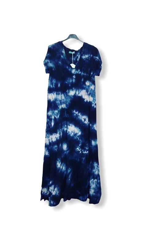 CARO TIE DYE DRESS DARK BLUE