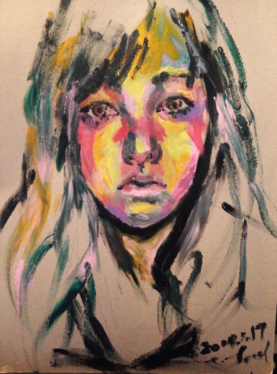 🔴 Self-Portrait acrylic on paper
