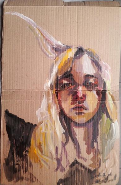 Self-Portrait acrylic on box