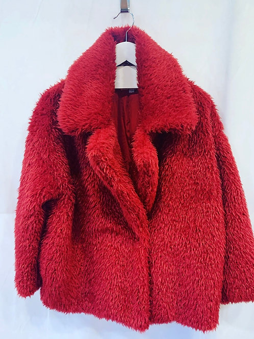 FLUFFY COAT RED