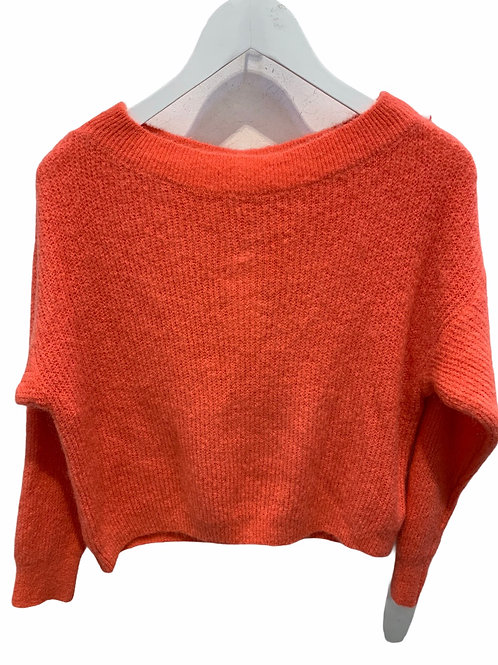 MILA BOATNECK SWEATER CORAL