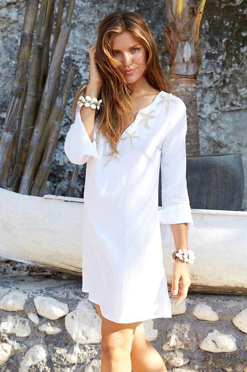 STARFISH TUNIC/DRESS WHITE/SAND