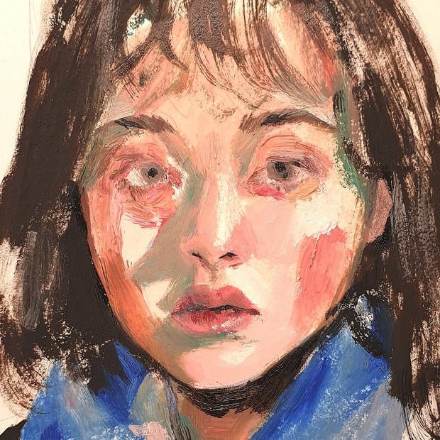 🔴 Small Self-Portrait oil on paper