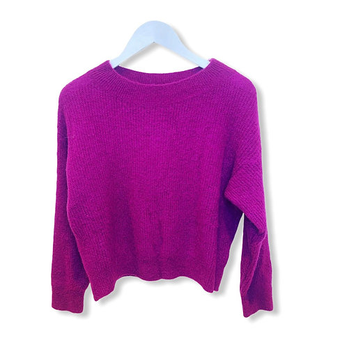 MILA BOATNECK KNITTED SWEATER MAGENTA