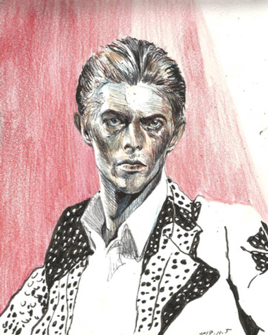 David Bowie mixed media on paper