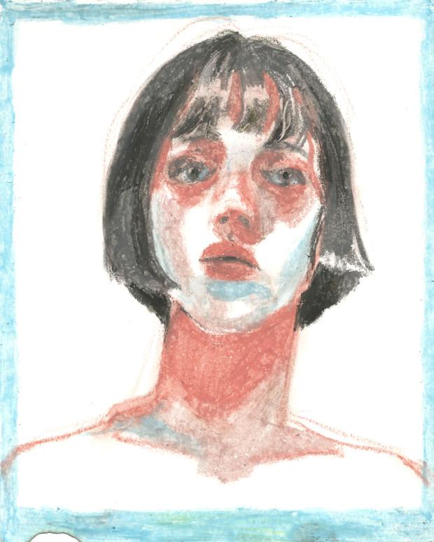🔴 Self-Portrait oil pastel on paper