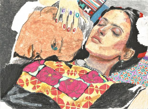 🔴 Frida mixed media on paper