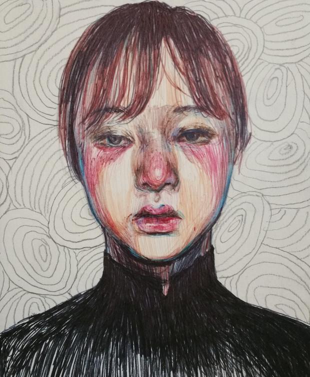 🔴 Self-Portrait mixed media on paper